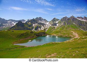 verano, landscap, alpino