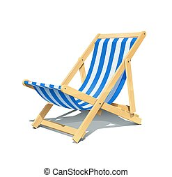 verano, longue, illustration., vector, rest., chaise, playa