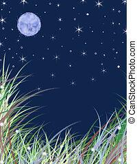 verano, luna, diseño, cielo