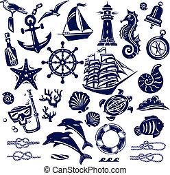 verano, mar, iconos