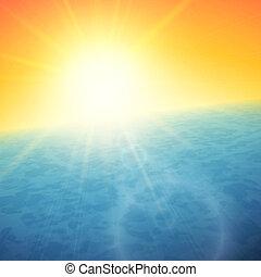verano, mar, ocaso, horizonte, sol