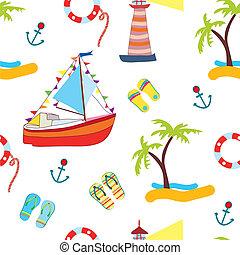 verano, mar, seamless, con, yate, divertido, diseño