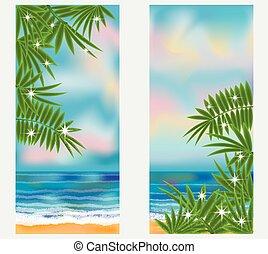 verano, mar, tropical, banderas, vector, ilustración