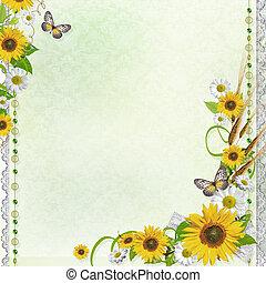 verano, marco, (1, set), plano de fondo, flores