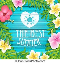 verano, marco, con, flowers.
