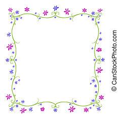 verano, marco, flores, o, primavera