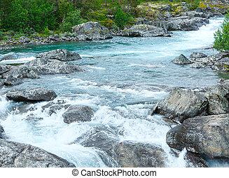 verano, montaña, río, (norge), cascadas