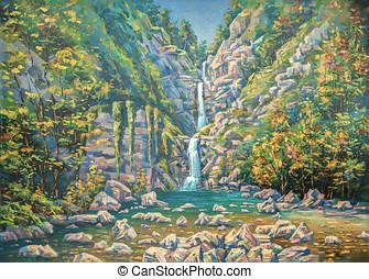 verano, montañoso, lona., park.painting:, sivenkov., nacional, sochi, cascada, nameless., three-stage, aceite, paisaje, nikolay, author: