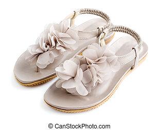 verano, mujer, abierto, plano, Dedos del pie, zapatos