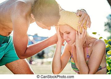 verano, mujer, biquini, porción, calor, heatstroke, hombre