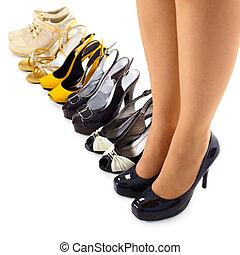 verano, mujer, conjunto, moderno, shoes