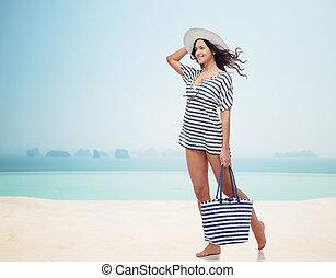 verano, mujer, sol, joven, ropa, sombrero, feliz