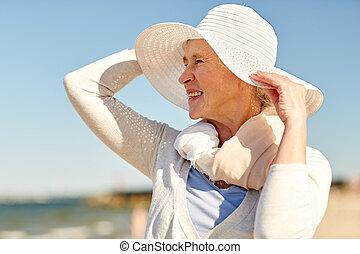 verano, mujer, sombrero, sol, 3º edad, playa, feliz