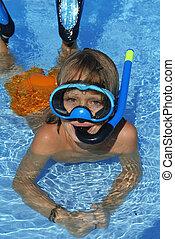verano, natación, feliz, vacaciones, esnórquel, feriado, niño