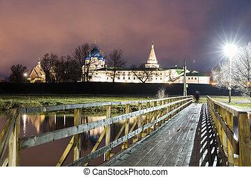 verano, natividad, noche, Rusia, catedral,  Suzdal,  Suzdal,  Kremlin