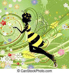 verano, niña, fantasía, hada, flor, abeja