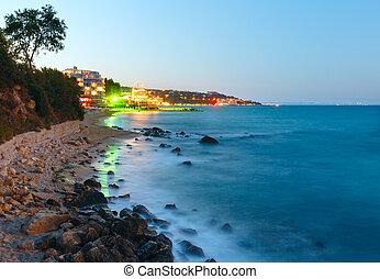 verano, noche, litoral, (bulgaria).
