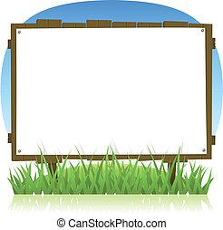 verano, o, primavera, país, madera, cartelera