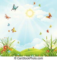 verano, o, primavera, paisaje