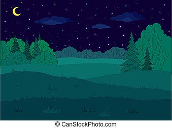 verano, paisaje, bosque, claro