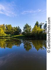 verano, paisaje, con, río, en, central, rusia