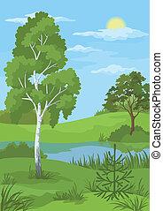 verano, paisaje de río, árboles