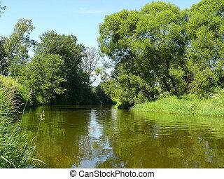 verano, paisaje de río