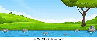 verano, paisaje., riverbank, y, árbol