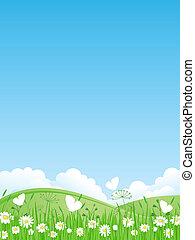 verano, paisaje., vector, illustrati
