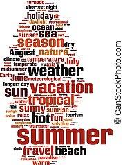 verano, palabra, nube