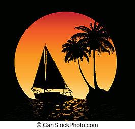 verano, palma, plano de fondo, árboles