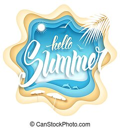 verano, papel, arte, hola
