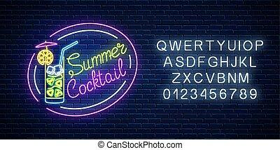 verano, paraguas, alcohol, cóctel, gas, neón, alpahbet., ...