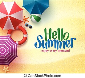 verano, paraguas, hola, plano de fondo