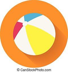 verano, pelota, coloreado, plano, inflable, largo, caucho, fondo., naranja, sombra, playa, ball., icono