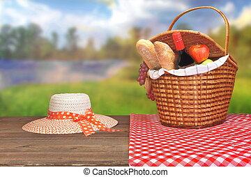 verano, picnic, escena, en, campo, lago