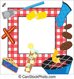 verano, picnic, fiesta, invitación