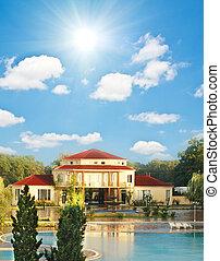 verano, piscina, grande, casa