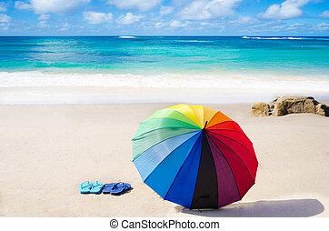 verano, plano de fondo, con, arco irirs, paraguas, y, fracasos de tirón
