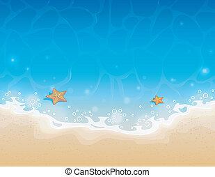 verano, plano de fondo, con, arena, y, agua