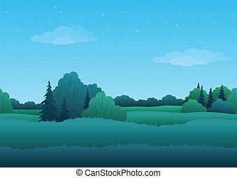 verano, plano de fondo, seamless, paisaje