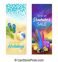 verano, playa, 2, banderas verticales