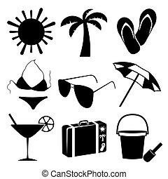 verano, playa blanca, plano de fondo, iconos