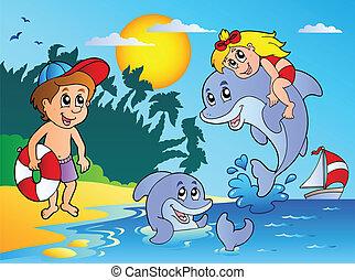 verano, playa, con, niños, y, delfines