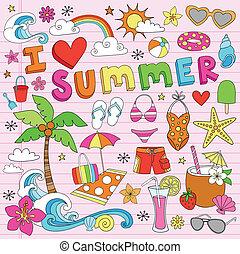 verano, playa, doodles, vector, conjunto