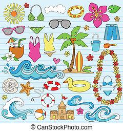 verano, playa, hawaiano, doodles