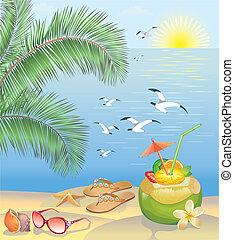 verano, playa, paisaje