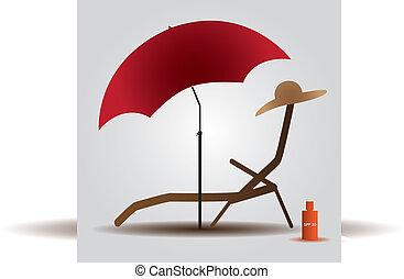 verano, playa, parasol, y, cama, eps10