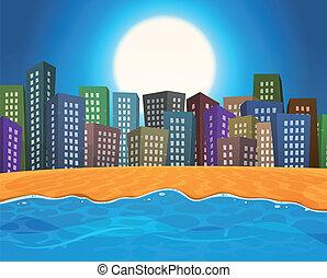 verano, playa, por, la ciudad