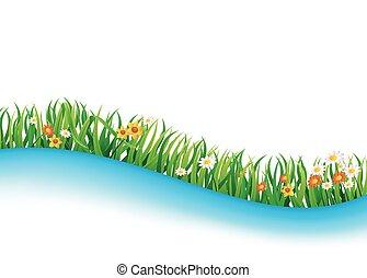 verano, pradera, paisaje